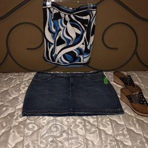 a.n.a riveted jean skirt
